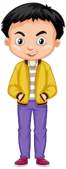 白地に黄色のジャケットを着て幸せな少年