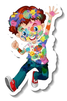 Happy boy with colour on his body sticker on white background