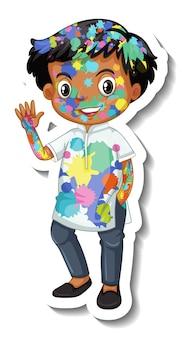 白い背景の上の彼の体のステッカーに色を持つ幸せな少年