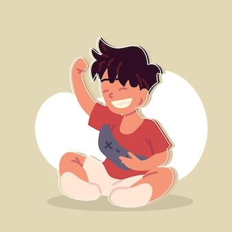 Happy boy with control games