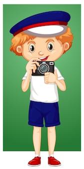 디지털 카메라와 함께 행복 한 소년