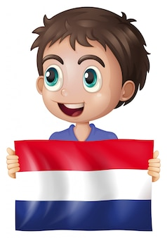 Happy boy with flag of netherlands