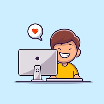 Happy boy working on computer cartoon  icon illustration. people technology icon concept