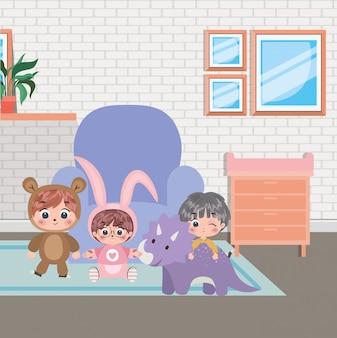 Happy boys cartoons illustration