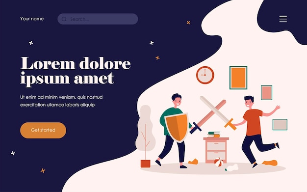 Happy boys having fun and fighting on plastic swords. shield, knight, room flat vector illustration. game and childhood concept for banner, website design or landing web page