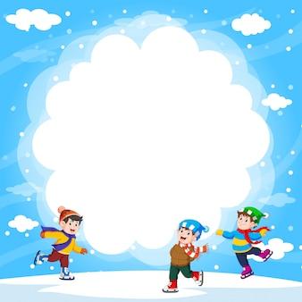 Happy boys outside playing ice-skates