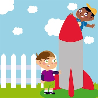 庭の漫画、子供のイラストでロケットで遊ぶ幸せな男の子