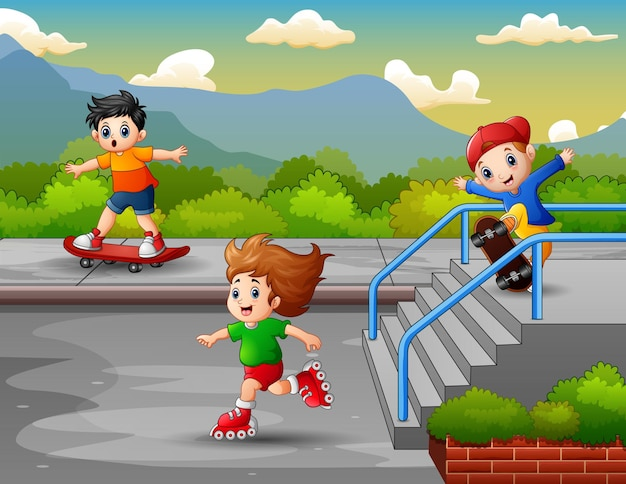 Happy boys ride using rollerblades and skateboard