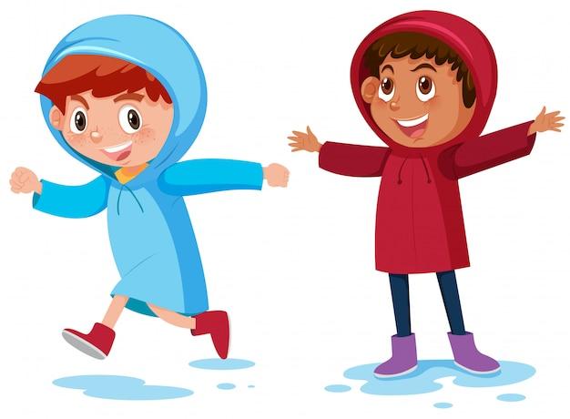 Happy boys wearing raincoast