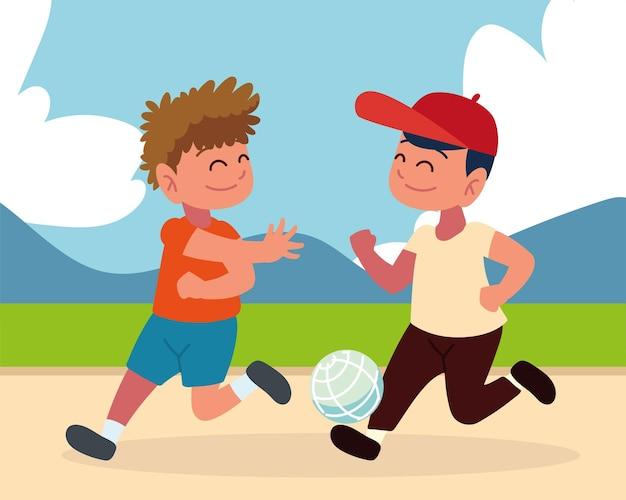 Счастливые мальчики с мячом
