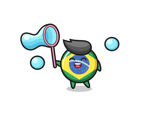 Happy brazil flag badge cartoon playing soap bubble , cute style design for t shirt, sticker, logo element