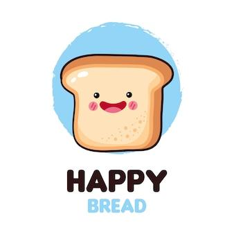 Happy bread icon and kawaii food