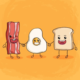 Happy breakfast illustration with cute bacon fried egg and bread