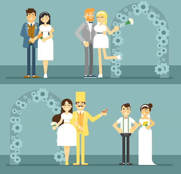 행복 한 신부 및 신랑 커플 세트