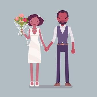 幸せな花嫁、結婚式で手をつないで新郎