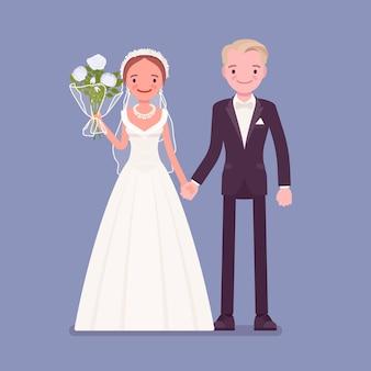 幸せな新郎新婦が結婚式で手をつないで