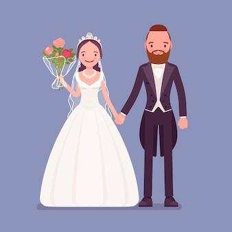 Happy bride, groom holding hands on wedding ceremony