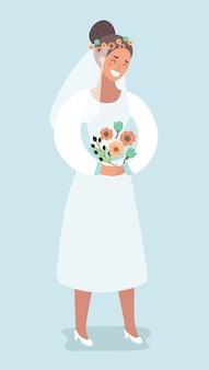 幸せな花嫁が花を抱き、微笑む
