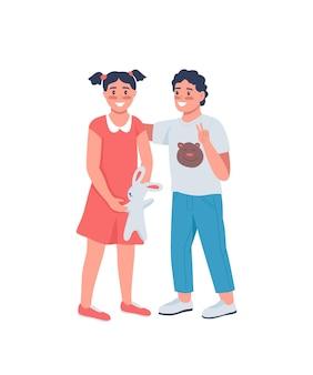 幸せな兄と妹のフラットカラーの詳細なキャラクター