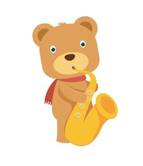Happy brown teddy bear playing saxophone