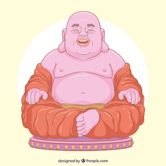 Happy budha with hand drawn style