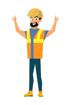 Happy builder shoving thumbs up sign flat vector
