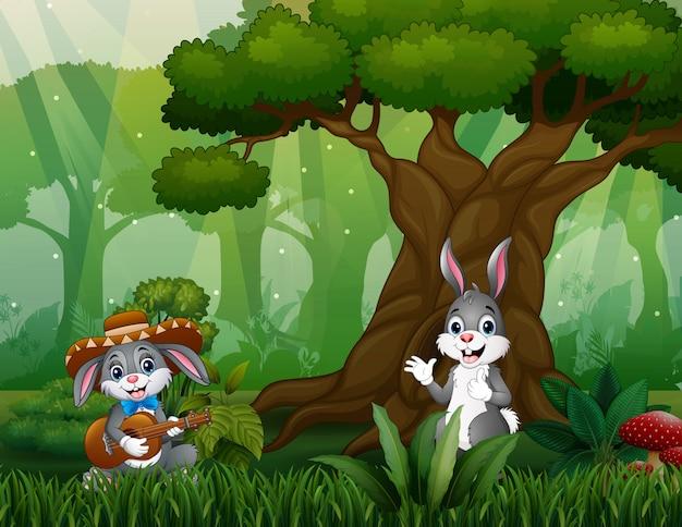 ジャングルで楽しんで幸せなウサギ