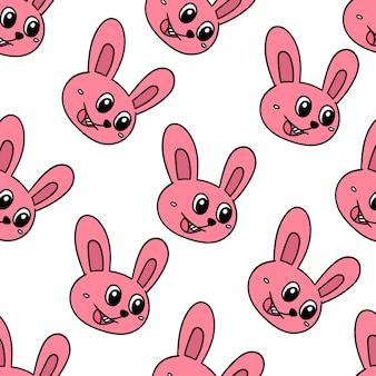 행복 한 토끼 애완 동물 원활한 패턴 섬유 인쇄입니다. 여름 빈티지 패브릭, 스크랩북, 벽지, 선물 포장에 좋습니다. 반복 패턴 배경 디자인