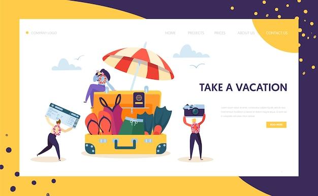 휴가 방문 페이지를위한 행복한 비즈니스 캐릭터 팩