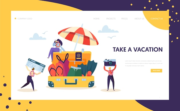 Happy business characters pack for vacation landing page