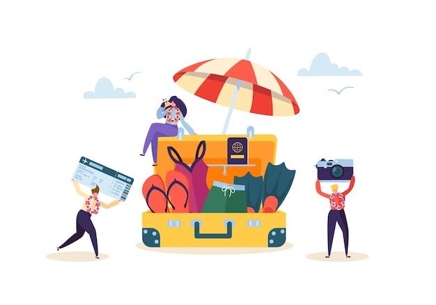 Счастливые деловые персонажи готовятся к пляжному отдыху. люди офисных работников на тропическом курорте с коктейлем. туризм и путешествия.