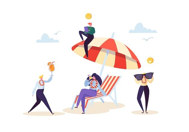 Счастливые деловые персонажи, расслабляющиеся на пляжных каникулах. люди офисных работников на тропическом курорте с коктейлем. фрилансер на удаленном рабочем месте.