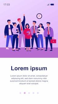 幸せなビジネス部門の同僚チームの肖像画イラスト