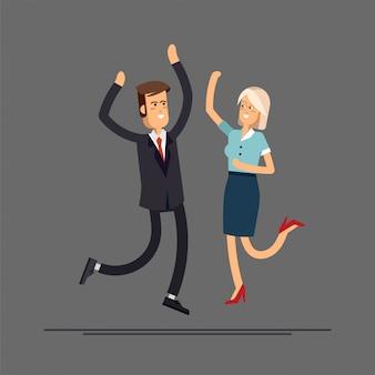 幸せなビジネスのカップルがジャンプします。