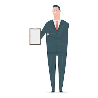 Счастливый деловой человек в костюме с бумагой сзажимом для бумаги. вектор плоский мультфильм офисный работник характер изолированы.