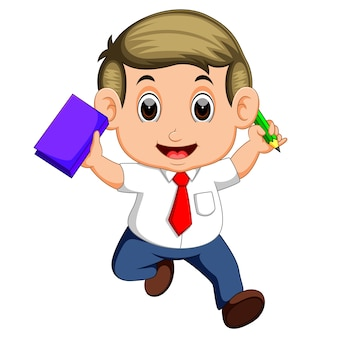 Happy business man jumping in the air cheerfully