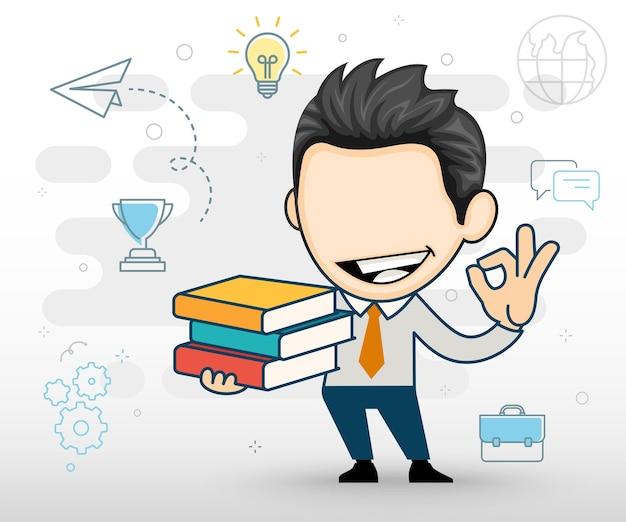 幸せなビジネスマンや漫画のスタイルで本のフラットデザインの山を保持している学生