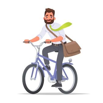 幸せなビジネスマンはビジネススーツで自転車サイクリストに乗るオフィスに乗る環境に乗る