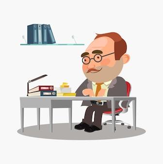 幸せなビジネスマンはテーブルに座っています