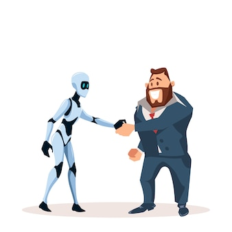 Happy business man in suit and robot shake hand