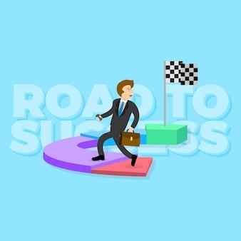 Happy business men road to success