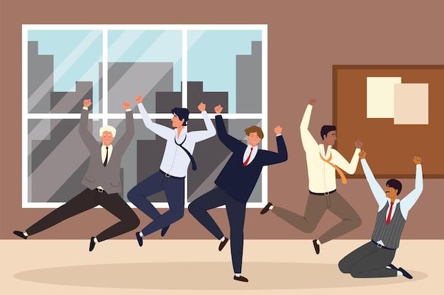 Счастливые деловые люди в рабочем пространстве
