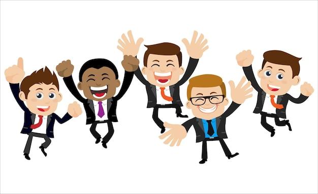 成功の達成を祝ってジャンプする幸せなビジネスマン