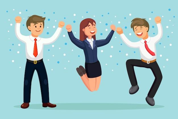 기쁨을 위해 점프 행복 사업 사람들입니다. 배경에 맞게 웃는 남자와 여자. 직원은 성공, 승리, 좋은 일을 축하합니다. 삽화.