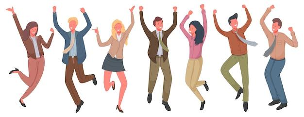 イラストをジャンプする幸せなビジネスマン。勝利を祝う陽気な従業員。
