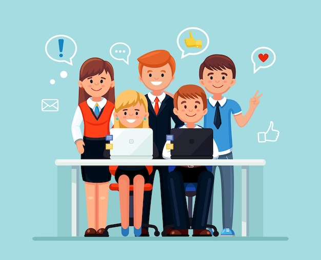 Happy business people smiling illustration