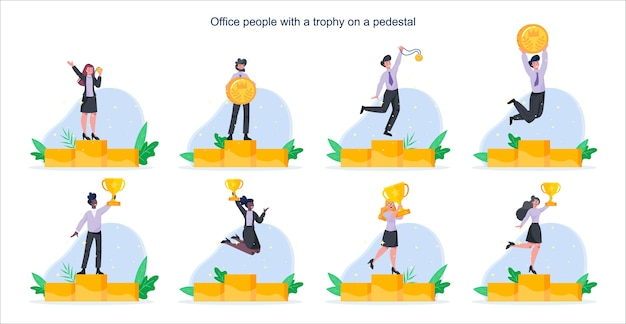 Happy business people standing on a winner pedestal with golden