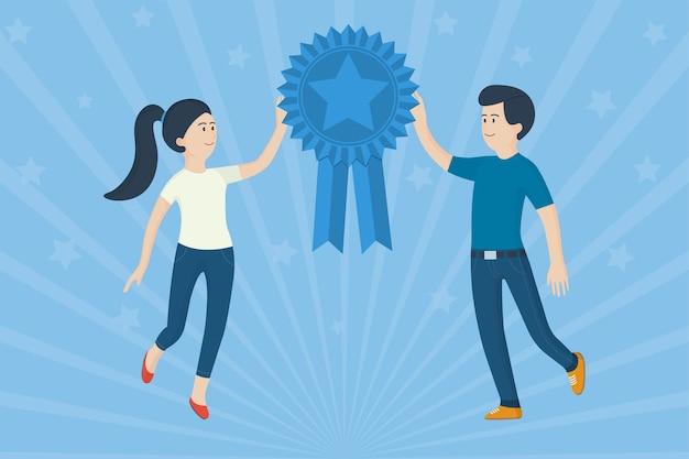 幸せなビジネスマン。勝者メダルサインで成功したチーム。受賞者の表彰式
