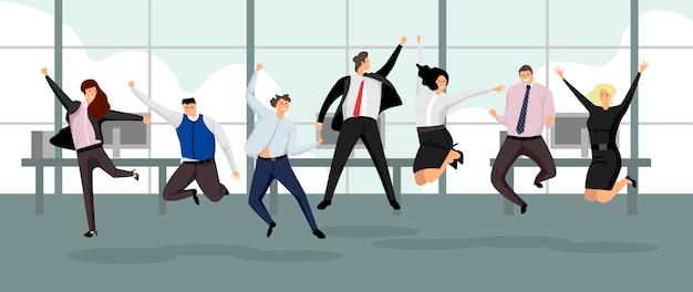 幸せなビジネスの人々。フラットスタイルの勝利とリーダーシップの概念。さまざまなポーズで挙手でジャンプする成功したビジネスマン。オフィスのベクトル図で祝う陽気なチーム。