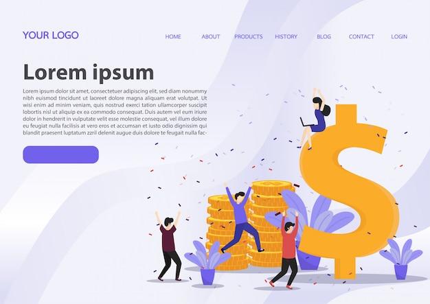Happy business team celebrates success landing page